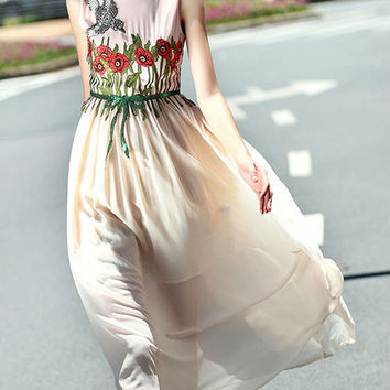 Apricot Embroidered Tie-Waist A-Line Dress