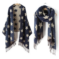 2016 New Designer Scarf 200*65cm Wool Winter Scarf Women Scarves Five-Pointed Star Blanket Long Cashmere Scarf shawls For moman