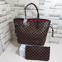 LV Louis Vuitton Classic Popular Women Shopping Bag Leather Handbag Bag Cosmetic Bag Two Piece Set High Quality Coffee Tartan I/A