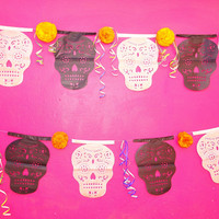 Day of the Dead Banner, Mexican Dia de los Muertos Papel Picado Banner, Sugar Skull Decorations