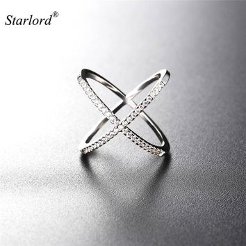 Starlord X Shape Ring & GIFT BOX AAA+ Cubic Zironica Gold/Silver Color Vintage Unique Design Ring For Women R2561