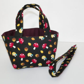 Teeny Tote Bag with Matching Headband Mini Mushrooms and Acorns of Autumn