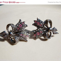 Spring Fashion Sale Vintage Avon Earrings Rose Pink rhinestone Clip On