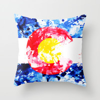 COLORADO PAINT FLAG Throw Pillow by Maioriz Home