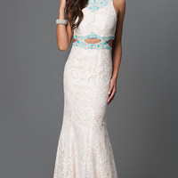 Ivory Lace Midriff Cut Out Prom Dress by Elizabeth K