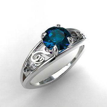 1.20ct London blue topaz ring, filigree engagement ring, white gold, solitaire, blue topaz engagement, unique, wedding ring, blue