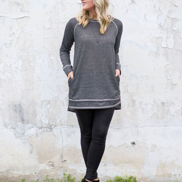 Sweet Simplicity Tunic - Dark Grey
