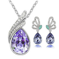 Newest Fashion Female Jewelry sets necklace earrings bridal Jewelery sets for women silver color big crystal Wing jewelry sets