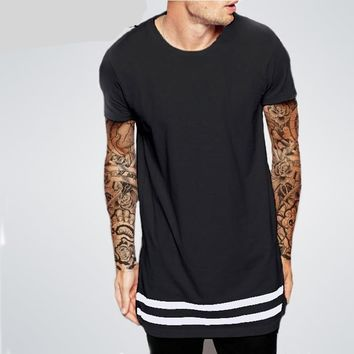 Stripes Trims Men Longline Shirts Extra Long Oversized Tall Tees