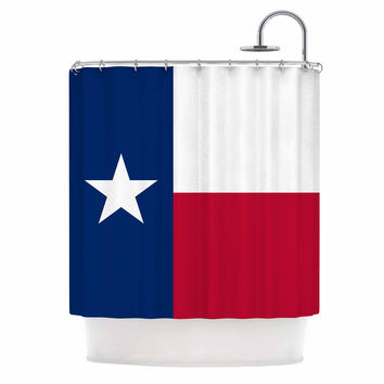 "Bruce Stanfield ""Texas Flag"" Red Blue Shower Curtain"
