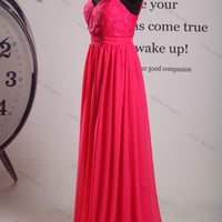 Two Shoulder Sweetheart Chiffon Long Prom Dress//long evening dress//long bridesmaid dress//bridesmaid dress