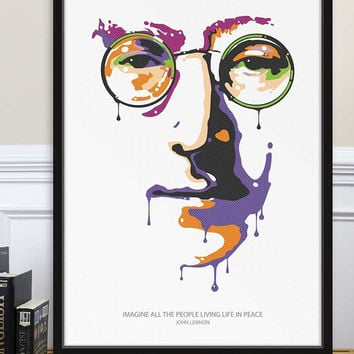 Poster John Lennon Imagine Peace Tower The Beatles Yoko Ono G