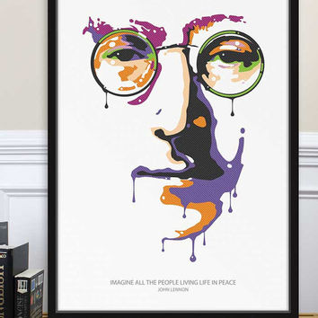 Poster John Lennon Imagine Peace Tower, The Beatles, Yoko Ono, Graphic Home Decor, Office Poster Art, Political Art, Street Art Illustration
