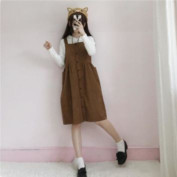 Autumn Fashion Japanese Soft Sisters Sleeveless Dress Student Corduroy Middle And Long Paragraph Suspender Dress Mori Girl