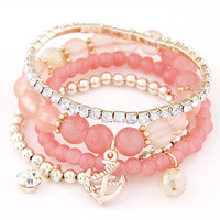 2016 Bohemia Jelly Beads Rose Gold Anchor Crystal Silver Charm Bracelets Bangles Beaded Elastic Goud Plated Bracelet for Women