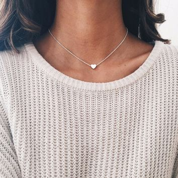 Romantic Heart Charm Necklace Gold Color Link Chain Necklace & Pendant Fashion Chokers Necklace for Women Collar Jewelry Gift