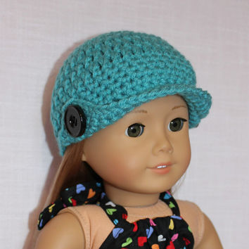crochet beanie hat with bill, crochet doll hat, blue beanie hat, 18 inch doll clothes, american girl, maplelea