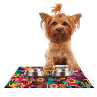 "Louise Machado ""Arabesque Floral"" Bright Colorful Dog Place Mat"