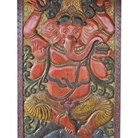 Vintage Barn Door Hand Carved Sarp(snake) Ganapati Wall Panel Zen Meditation Decor