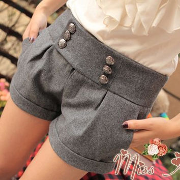 free shipping new 2016 women shorts thick autumn winter casual fashion double button woolen warm LL724