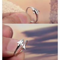 Single Dolphin Open Ring in 10K White Gold over Sterling Silver