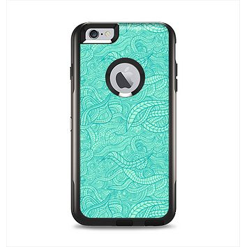 The Teal Leaf Laced Pattern Apple iPhone 6 Plus Otterbox Commuter Case Skin Set