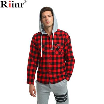 Fashion New Arrival Social High Quality Casual Cotton Blends Plaid Long Sleeve Men Hooded Shirt dress