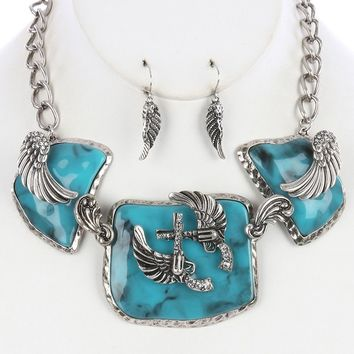 Turquoise Double Gun Angel Wings Necklace And Earring Set