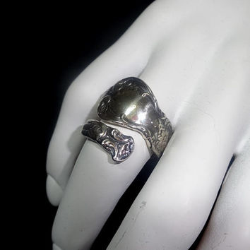 1970s Vintage Sterling Silver Spoon Ring by Celllini, Marked, Size 7 to 7.5, 1970s Fashion Jewelry, Vintage Sterling Silver Jewelry Art