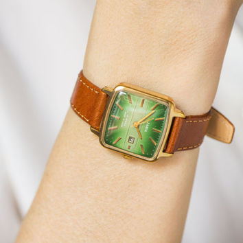 Green lady's watch Dawn, square lady wristwatch gold plated rare, women watch gift, Quality Mark USSR lady watch, genuine leather strap new