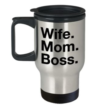 Wife Mom Boss Travel Mug Stainless Steel Insulated Coffee Cup