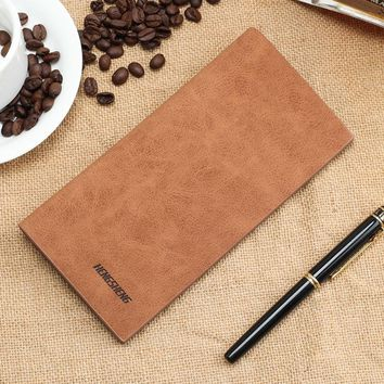 Men wallet vintage long purse Matte PU simple frosted youth soft leather folder men' s personality fashion students wallet