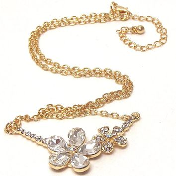 Double Gold Crystal Flower Link Necklace