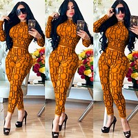 CH Autumn Fashion Women Casual Print Long Sleeve Top Pants Trousers Set Two-Piece Sportswear Orange
