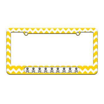 Skull And Crossbones - Poison - License Plate Tag Frame - Yellow Chevrons Design