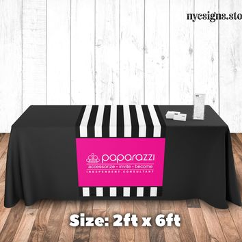 Paparazzi Table Runner - Black Stripe Pink Background - Size 2ft x 6ft