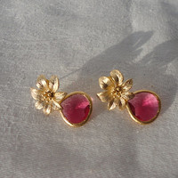 gold flower earring . red dangle earring . gemstone bead earring . drop earring . CZ earring . fine stone jewelry . vermeil earring