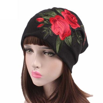 Floral Embroidery Beanie Caps Women