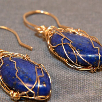 Lapis Lazuli Earrings, 14 Kt Gold Filled Wire Wrapped, OOAK, Marquis Briolette Earrings, Handmade Jewelry, AAA Gemstone, September Birthday
