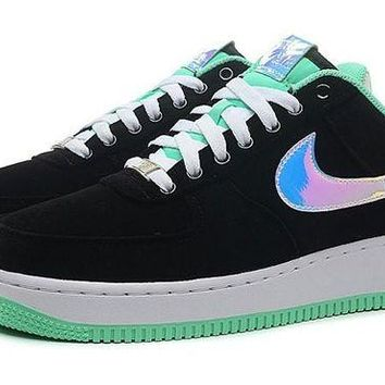 DCCKBE6 Nike Air Force 1 488298-029 Mint Green Black For Women Men Running Sport Casual Shoes Sneakers