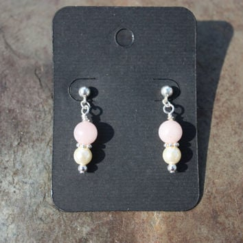 Rose Quartz and Glass Pearl Hypoallergenic Earrings Fight for Cure Breast Cancer Awareness