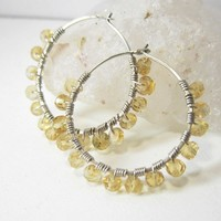 Citrine Hoop Earrings, Sterling Silver November Birthstone Gemstone