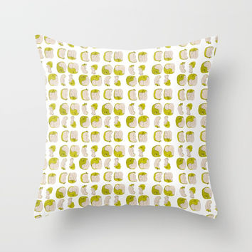 Eating process (Apple) // watercolor apple consumption Throw Pillow by Camila Quintana S