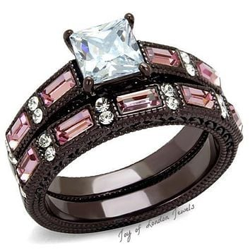 A Perfect Vintage Chocolate Stainless 2CT Princess Cut Russian Lab Diamond Pink Sapphire Bridal Set