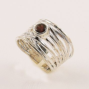 Garnet Sterling Silver Adjustable Ribbons Ring