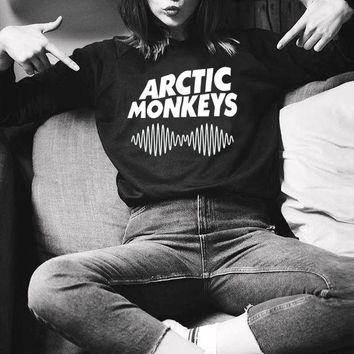 2017 Casual Sweatshirt Women Hoody Arctic Monkeys Letter Print Full Sleeve Hoodies Harajuku O-Neck Black Sweatshirts