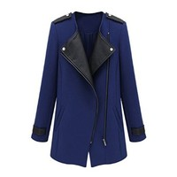 ZLYC Women Fashion Longline Zipper Biker Contrast Leather Notched Lapels Coat Outwear