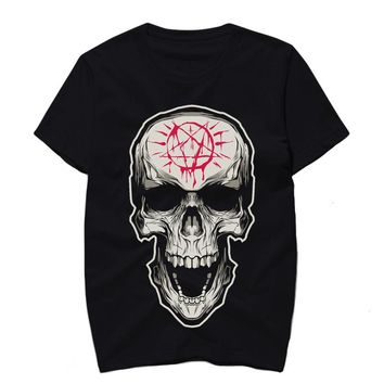 Men Tshirt Black Color Skull Print Rock Hip Hop Tee