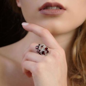 Genuine Natural Garnet  925 Sterling Silver Gemstone Rings