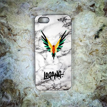 Logang white marble Print On Hard Plastic Cover Skin For iPhone